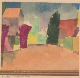 Paul Klee, Landgut bei Fryburg, 1915, Aquarell und Goldfarbe auf Papier auf Karton © Albertina, Wien. Sammlung Forberg