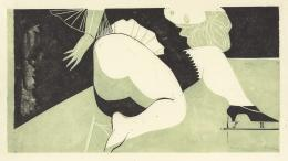 Peter Kubovsky, Ohne Titel, 44 x 62 cm, 2 Farbplatten auf Japanpapier, Linolschnitt, 1968/69 © Margit Palme