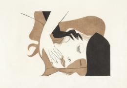 Peter Kubovsky, Ohne Titel, 46 x 69 cm, 2 Farbplatten auf Japanpapier, Linolschnitt, 1969 © Margit Palme