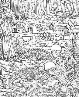 Agathe Pitié: Das Jüngste Gericht, 2019, Detail: Die Kaimaninseln, Tusche auf Papier, Courtesy Galerie Michel Soskine, Madrid © Agathe Pitié, Foto: Thomas Celaries