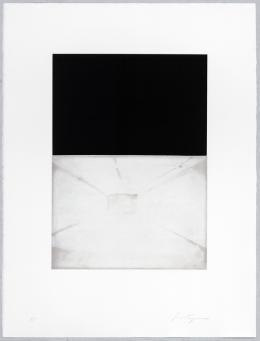 Luc Tuymans, Ohne Titel, Blatt 1 aus: The Temple, 1996, Aquatinta und Direktätzung auf Velin, 80.0 × 60.4 cm, Graphische Sammlung ETH Zürich © Luc Tuymans