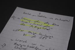 """Notiz von Journalist Frederik Obermaier zum sogenannten """"Ibiza-Video"""", Credit: Haus der Geschichte Österreich"""