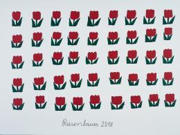 Heinrich Reisenbauer, Tulpen/Tulips, Edding, Acryl auf Leinwand/sharpie, acrylic on canvas, 120 x 160 cm © Privatstiftung – Künstler aus Gugging