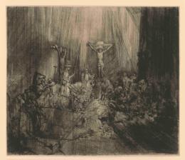 Rembrandt van Rijn: Die Drei Kreuze (Christus am Kreuz zwischen den beiden Schächern), 1653. Kaltnadel, 384 x 448 mm; Inv.-Nr. 1964:460 D (Schenkung Max Kade Foundation), NHD 239, II. Zustand von IV. © Staatliche Graphische Sammlung München
