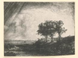 Rembrandt van Rijn: Die Landschaft mit den drei Bäumen, 1643. Radierung, Kaltnadel, Grabstichel, 214 x 279 mm; Inv.-Nr. 67437 D, NHD 214, einziger Zustand. © Staatliche Graphische Sammlung München