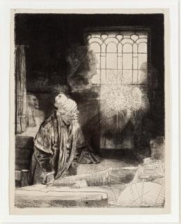 Rembrandt Harmensz. van Rijn: Ein Gelehrter in seinem Studierzimmer (Faust), um 1652. Foto: Stefan Rohner