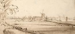 Rembrandt Harmensz. van Rijn, Die ehemalige Kupfermühle auf der Weesperzijde, späte 1640er-Jahre, Feder und Pinsel in Braun © Albertina, Wien
