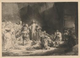 Rembrandt van Rijn: Hundertguldenblat (Der predigende Christus), um 1648. Radierung, Kaltnadel, Grabstichel (auf Japanpapier), 280 x 392 mm; Inv.-Nr. 1964:460 D (Schenkung Max Kade Foundation), NHD 239, II. Zustand von IV. © Staatliche Graphische Sammlung München