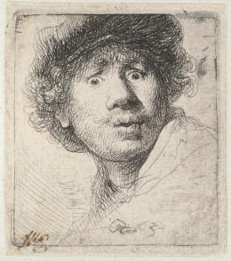 Rembrandt Harmensz. van Rijn (1606–1669) Selbstbildnis mit Mütze, den Mund geöffnet, 1630 Radierung, 51 x 46 mm © Hamburger Kunsthalle / bpk Foto: Christoph Irrgang