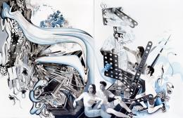 Susanne Kühn, Robota II, 2019, 250 x 390 cm, Acryl, Kohle, Bleistift, Carbon- schwarz und Dispersion auf Leinwand, Foto: Bernhard Strauss © Bildrecht 2019