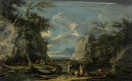 Salvator Rosa, Paesaggio con Pitagora e pescatori, um 1662, Öl auf Leinwand, 123 x 198 cm, Kunsthaus Zürich, Stiftung Betty und David Koetser, 1986