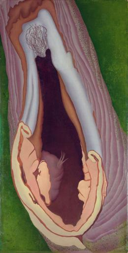 Ithell Colquhoun, Anatomie des Baumes, 1942, Öl auf Holz, 57 x 29 cm, The Estate of the late Dr. Jeffrey Sherwin and the Sherwin Family, © Samaritans, Noise Abatement Society & Spire Healthcare