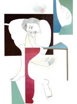 Käthe Schönle, 2020, Bleistift, Collage auf Papier, 29,7 x 21 cm