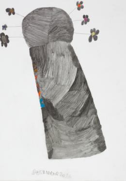 Günther Schützenhöfer, Frühlingsbaum/Springtime-Tree, 2014, Bleistift, Farbstifte/pencil, coloured pencils, 62,4 x 44 cm © Privatstiftung – Künstler aus Gugging