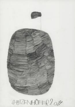 Günther Schützenhöfer, Segelboot, 2017, Bleistift, 42 x 29,7cm © Privatstiftung – Künstler aus Gugging