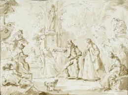 Gaspare Diziani, Fête galante (Gesellschaft im Freien), um 1740/50, Feder in Braun, braun laviert über schwarzer Kreide auf elfenbeinfarbenem Papier, 22,2 cm x 16,7 cm, Staatsgalerie Stuttgart, Graphische Sammlung