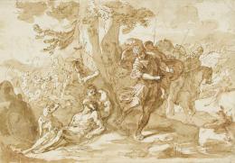 Sebastiano Ricci, Tod des Darius, um 1710/20, Feder in Braun, braun laviert über Rötel auf elfenbeinfarbenem Papier, 20 cm x 28,8 cm, Staatsgalerie Stuttgart, Graphische Sammlung