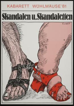 Skandalen u. Skandaletten, Kabarett Wühlmäuse 1981, Plakatgestaltung Reinhold Luger