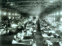 Militär-Notfallkrankenhaus während der Spanischen Grippe in Kansas, 1918 oder 1919