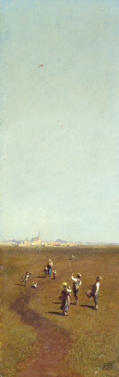 Carl Spitzweg, Drachensteigen, um 1880/85  Staatliche Museen zu Berlin, Nationalgalerie