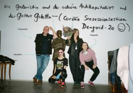 v. l. n. r.: Boris Kap, Verena Dengler, Barbara Urbanic, Apollonia T. Bitzan; Foto: © Apollonia T. Bitzan; Grafik: Katarina Schildgen
