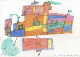 Jürgen Tauscher, Ohne Titel, 2020, Bleistift, Farbstifte, 29,7 x 42 cm © Galerie Gugging