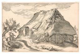 Boëtius Adamsz. Bolswert (um 1585-1633), nach Abraham Bloemaert (1564-1651) Bauernhütte mit Staffage, 1613 Kupferstich Privatbesitz Foto: Tiroler Landesmuseen