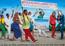 Chéri Samba: La Marche de soutien contre le SIDA, 2006; Collection Lucien Bilinelli, Brussels / Milan