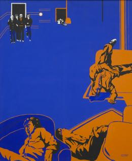 Uwe Lausen, Die Versicherungsagenten, 1967, Kunstharzdispersion auf Baumwolle, 181 x 150 cm, Staatsgalerie Stuttgart © VG Bild-Kunst, Bonn 2020