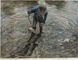 Rinus Van de Velde, It must have been somewhere here ..., 2020, Farbstift auf Papier, 35.5 x 46.1 cm © Courtesy Tim Van Laere Gallery, Antwerpen