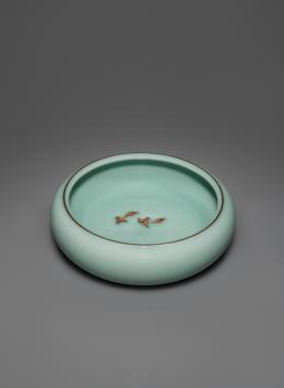 Niu xi 牛洗 (Pinselwascher mit Wasserbüffeln). Chen Shaoqing. 24×24×7 cm. Foto: Franca Wohlt, 2018.