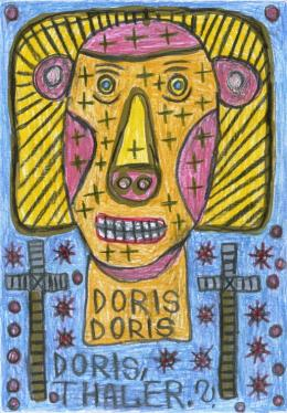 """August Walla, """"Doris, Thaler.?"""", 1997, Bleistift, Farbstifte, Kugelschreiber, 20,9 x 14,8 cm © Art Brut KG"""