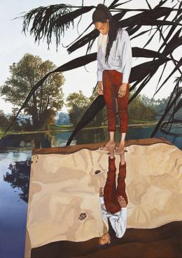 Martin Schnur, In sich selbst #2, 2021, Öl auf Leinwand, 205 x 144 cm © Courtesy: Bechter Kastowsky Galerie und der Künstler, Fotocredit: Daniela Beranek, Wien